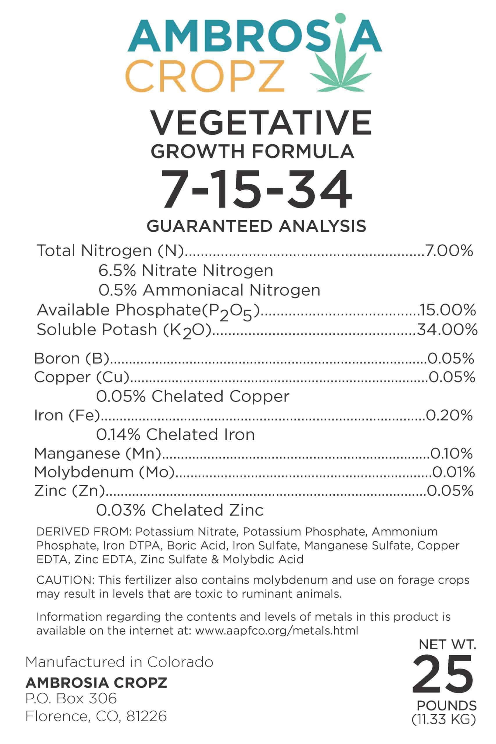 Complete, hydroponic nutrient line